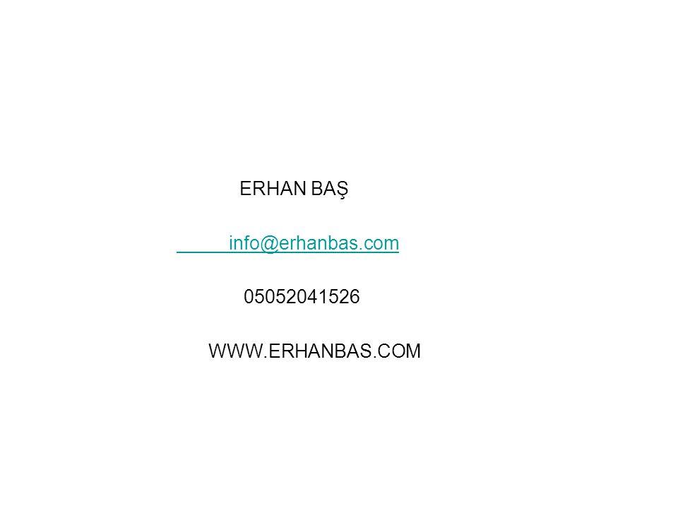 ERHAN BAŞ info@erhanbas.com 05052041526 WWW.ERHANBAS.COM