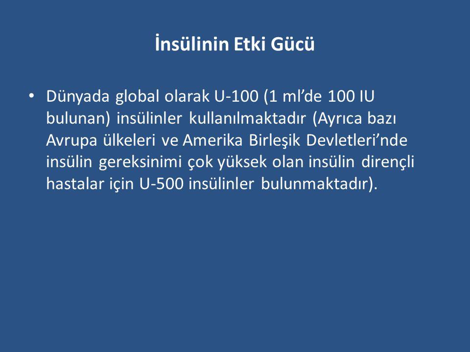 İnsülinin Tipi ve Etki Profili Halen kullanılmakta olan insülin preparatları ve etki profilleri tabloda görülmektedir.