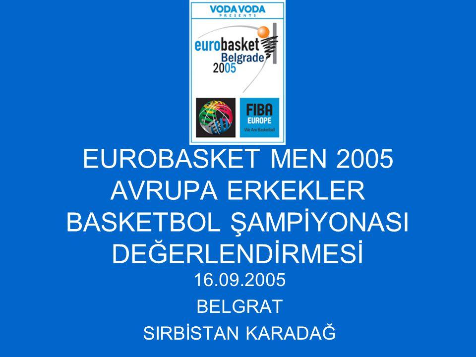 EUROBASKET MEN 2005 AVRUPA ERKEKLER BASKETBOL ŞAMPİYONASI DEĞERLENDİRMESİ 16.09.2005 BELGRAT SIRBİSTAN KARADAĞ