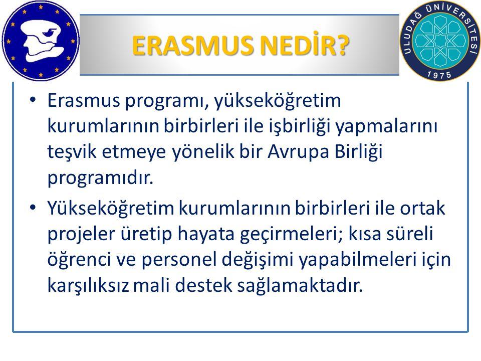 ERASMUS NEDİR? Erasmus programı, yükseköğretim kurumlarının birbirleri ile işbirliği yapmalarını teşvik etmeye yönelik bir Avrupa Birliği programıdır.