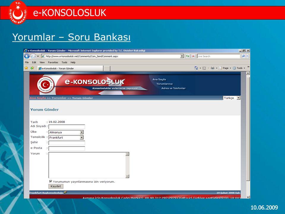 10.06.2009 Yorumlar – Soru Bankası e-KONSOLOSLUK