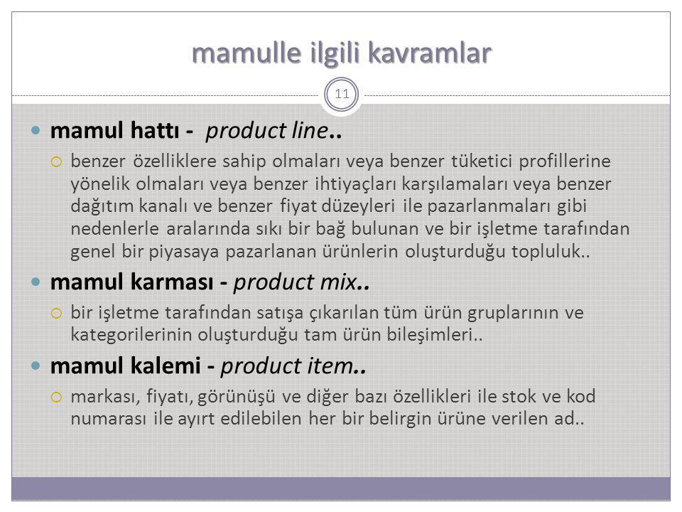 mamulle ilgili kavramlar 11 mamul hattı - product line..  benzer özelliklere sahip olmaları veya benzer tüketici profillerine yönelik olmaları veya b