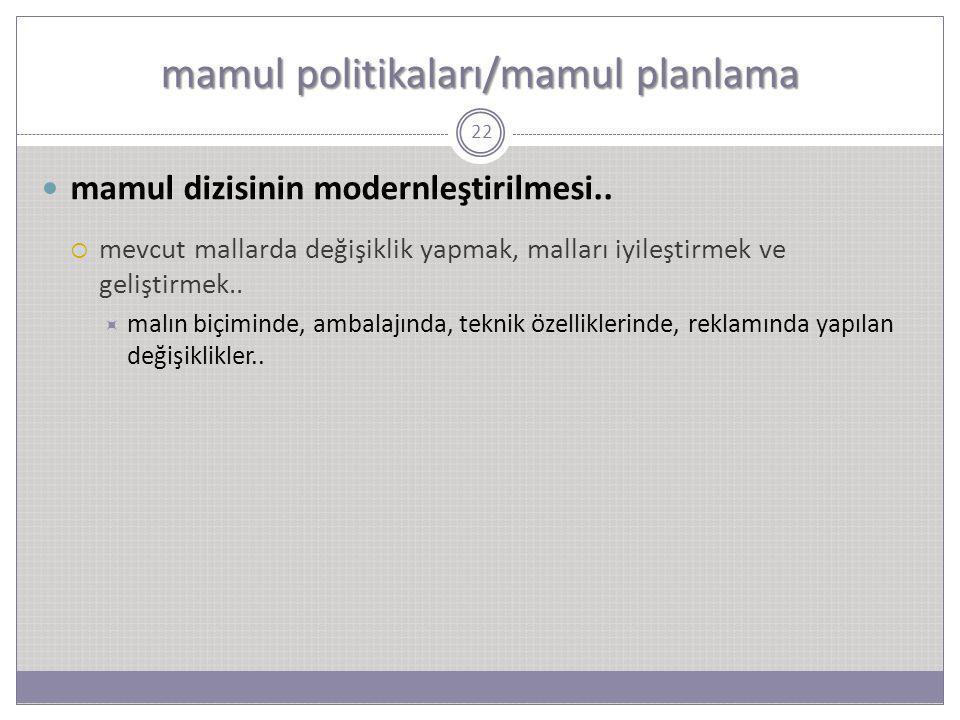 mamul politikaları/mamul planlama 22 mamul dizisinin modernleştirilmesi..  mevcut mallarda değişiklik yapmak, malları iyileştirmek ve geliştirmek.. 