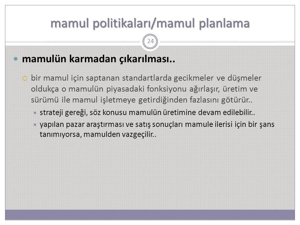 mamul politikaları/mamul planlama 24 mamulün karmadan çıkarılması..  bir mamul için saptanan standartlarda gecikmeler ve düşmeler oldukça o mamulün p