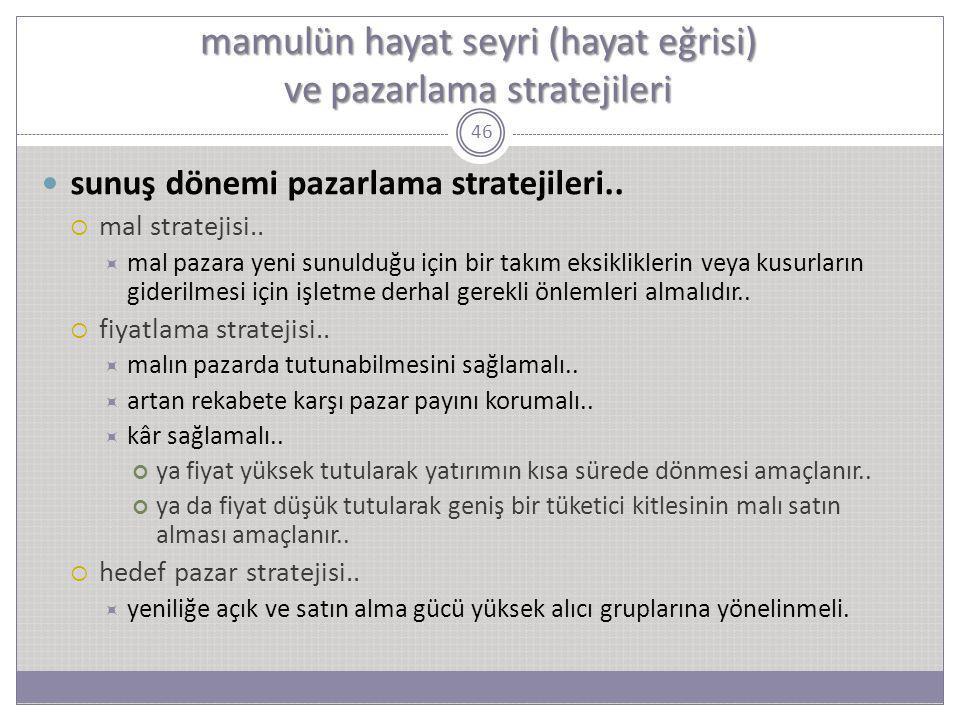 46 sunuş dönemi pazarlama stratejileri..  mal stratejisi..  mal pazara yeni sunulduğu için bir takım eksikliklerin veya kusurların giderilmesi için