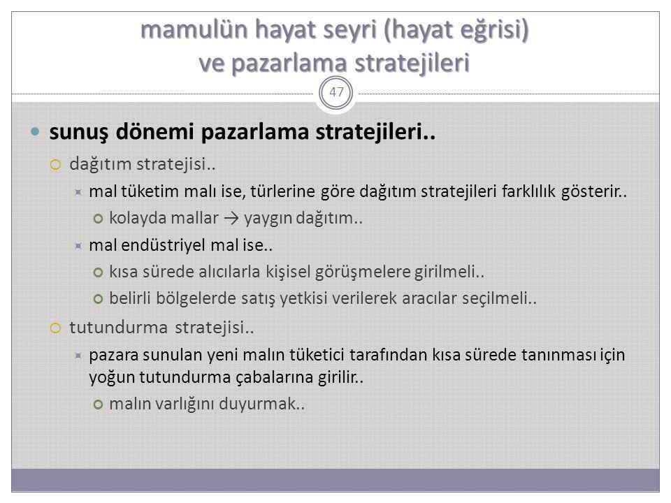 47 sunuş dönemi pazarlama stratejileri..  dağıtım stratejisi..  mal tüketim malı ise, türlerine göre dağıtım stratejileri farklılık gösterir.. kolay