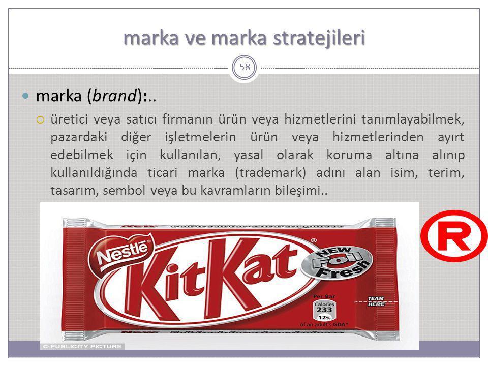 marka ve marka stratejileri 58 marka (brand):..  üretici veya satıcı firmanın ürün veya hizmetlerini tanımlayabilmek, pazardaki diğer işletmelerin ür