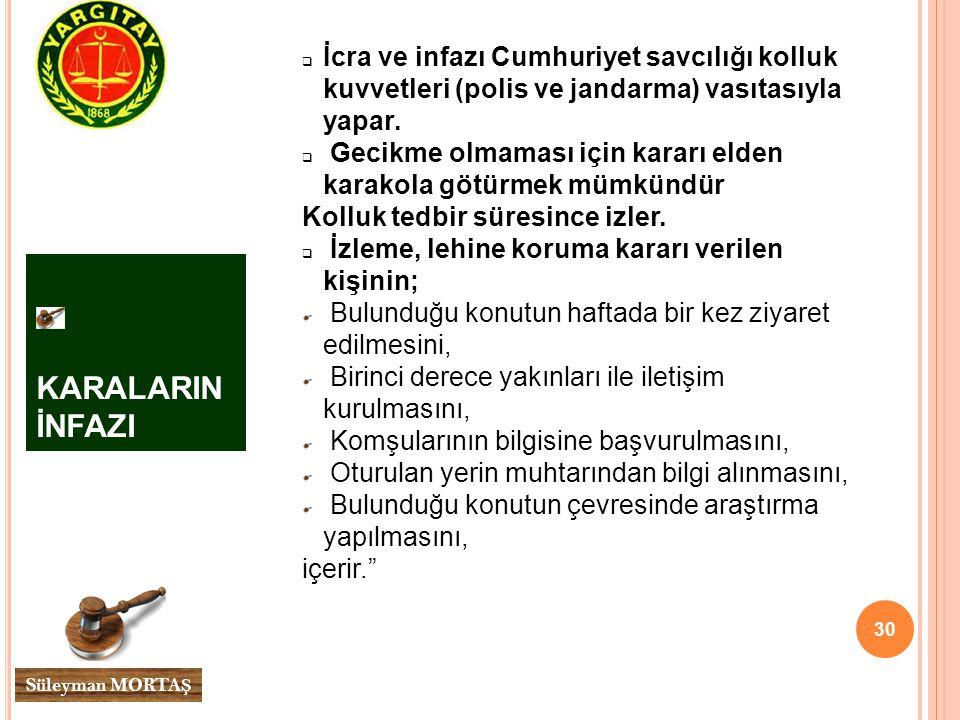 30 Süleyman MORTA Ş KARALARIN İNFAZI  İcra ve infazı Cumhuriyet savcılığı kolluk kuvvetleri (polis ve jandarma) vasıtasıyla yapar.