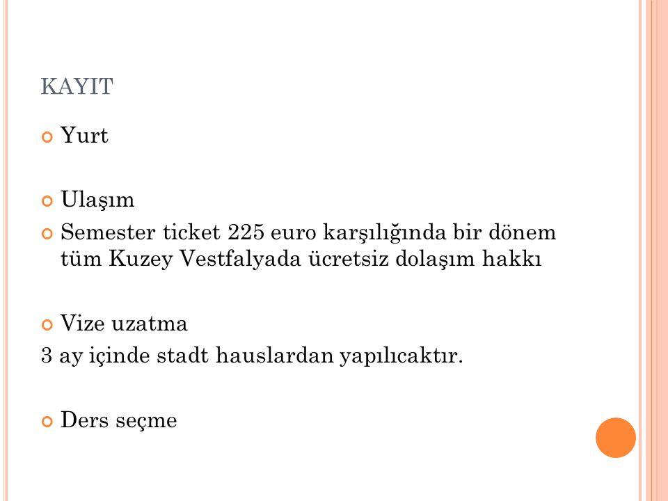 KAYIT Yurt Ulaşım Semester ticket 225 euro karşılığında bir dönem tüm Kuzey Vestfalyada ücretsiz dolaşım hakkı Vize uzatma 3 ay içinde stadt hauslarda