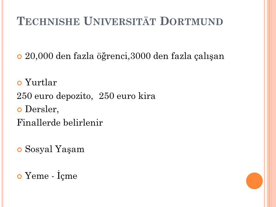 T ECHNISHE U NIVERSITÄT D ORTMUND 20,000 den fazla öğrenci,3000 den fazla çalışan Yurtlar 250 euro depozito, 250 euro kira Dersler, Finallerde belirlenir Sosyal Yaşam Yeme - İçme
