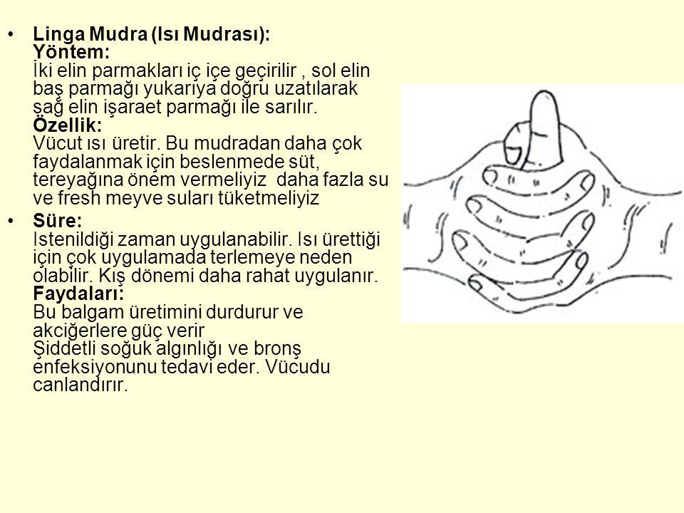 Linga Mudra (Isı Mudrası): Yöntem: İki elin parmakları iç içe geçirilir, sol elin baş parmağı yukarıya doğru uzatılarak sağ elin işaraet parmağı ile sarılır.