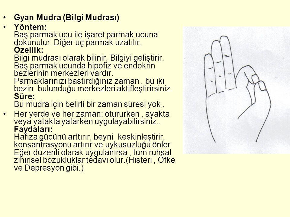 Gyan Mudra (Bilgi Mudrası) Yöntem: Baş parmak ucu ile işaret parmak ucuna dokunulur.