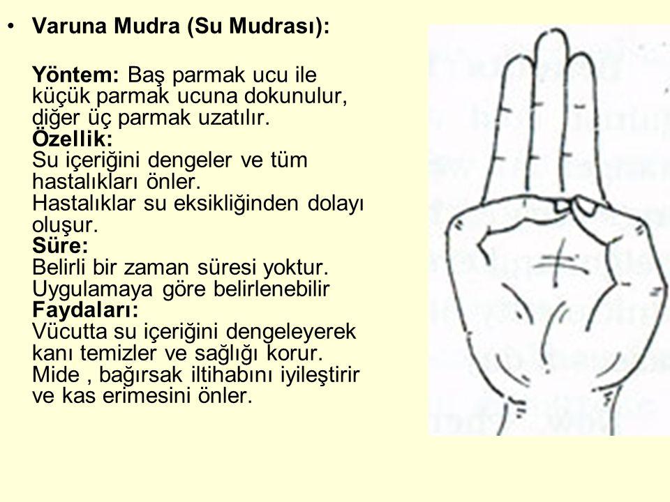 Varuna Mudra (Su Mudrası): Yöntem: Baş parmak ucu ile küçük parmak ucuna dokunulur, diğer üç parmak uzatılır. Özellik: Su içeriğini dengeler ve tüm ha
