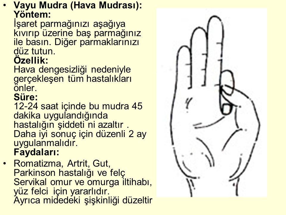Vayu Mudra (Hava Mudrası): Yöntem: İşaret parmağınızı aşağıya kıvırıp üzerine baş parmağınız ile basın. Diğer parmaklarınızı düz tutun. Özellik: Hava