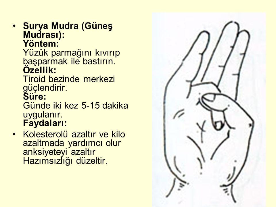 Surya Mudra (Güneş Mudrası): Yöntem: Yüzük parmağını kıvırıp başparmak ile bastırın. Özellik: Tiroid bezinde merkezi güçlendirir. Süre: Günde iki kez