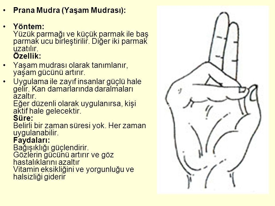 Prana Mudra (Yaşam Mudrası): Yöntem: Yüzük parmağı ve küçük parmak ile baş parmak ucu birleştirilir. Diğer iki parmak uzatılır. Özellik: Yaşam mudrası