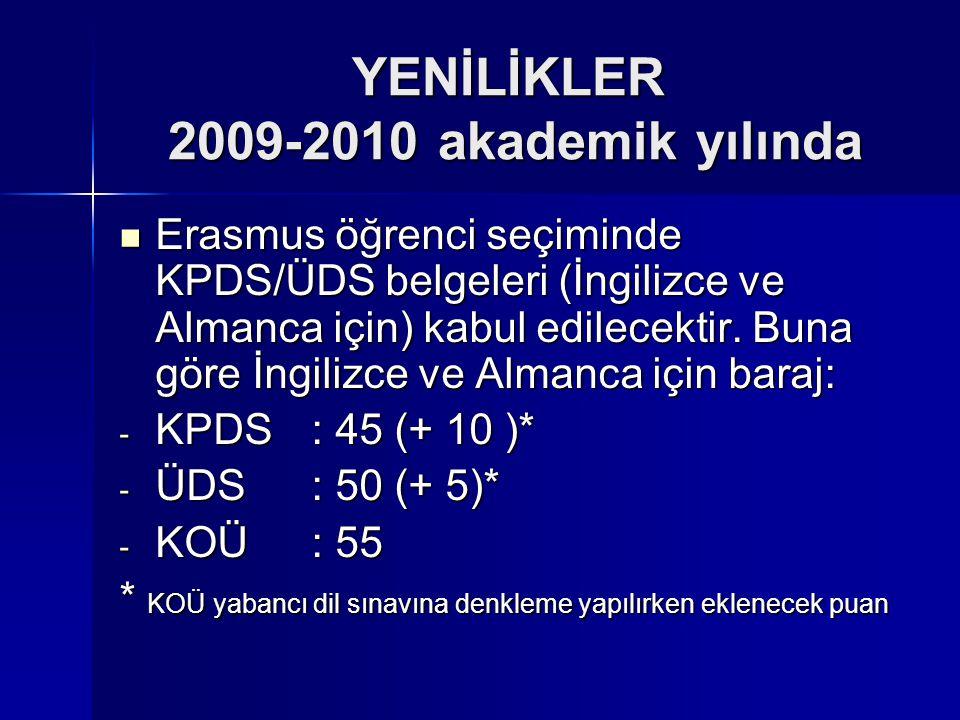 YENİLİKLER 2009-2010 akademik yılında Erasmus öğrenci seçiminde KPDS/ÜDS belgeleri (İngilizce ve Almanca için) kabul edilecektir. Buna göre İngilizce