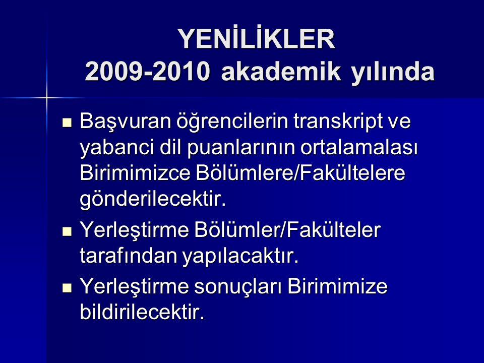 YENİLİKLER 2009-2010 akademik yılında Başvuran öğrencilerin transkript ve yabanci dil puanlarının ortalamalası Birimimizce Bölümlere/Fakültelere gönde