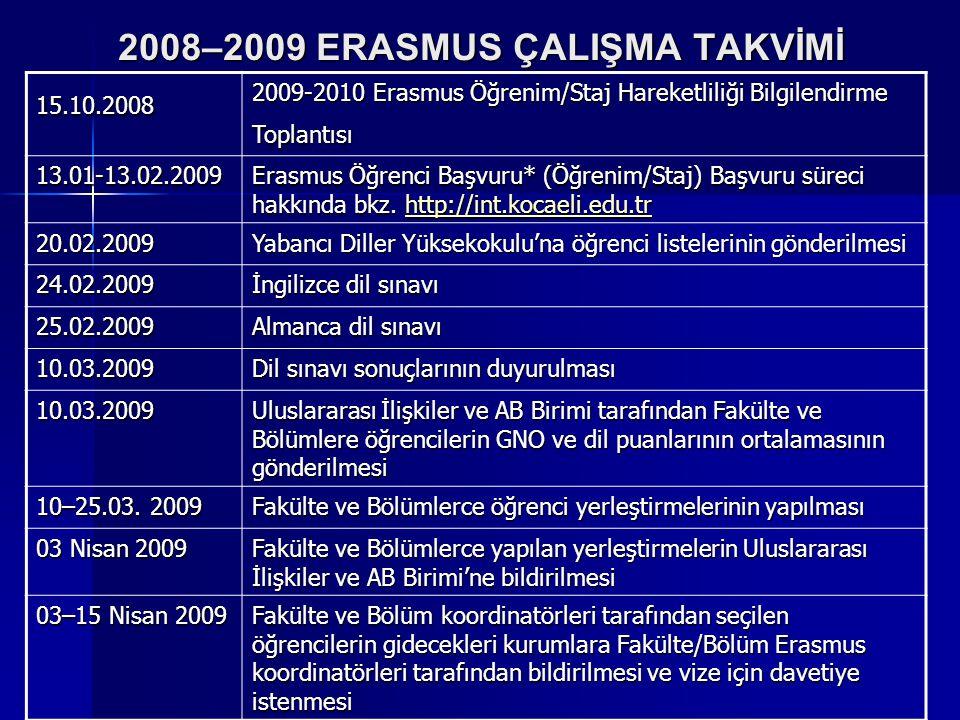 2008–2009 ERASMUS ÇALIŞMA TAKVİMİ 15.10.2008 2009-2010 Erasmus Öğrenim/Staj Hareketliliği Bilgilendirme Toplantısı 13.01-13.02.2009 Erasmus Öğrenci Ba