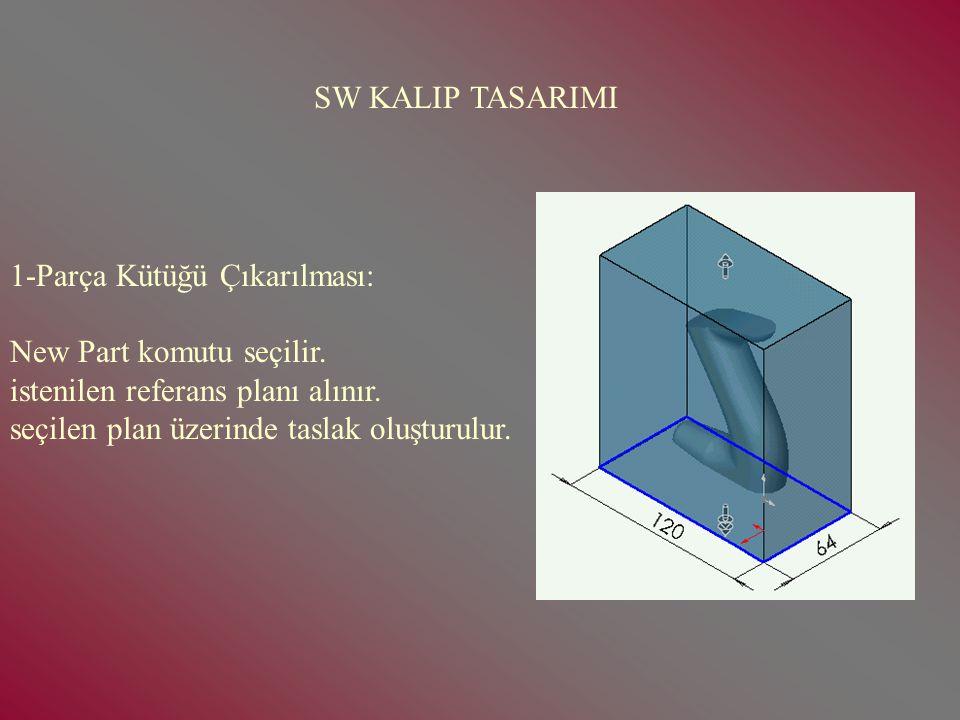 SW KALIP ÇIKARMA(2) Kalıbı çıkarılacak parçanın tasarımı yapılır.Assembly dosyasında açılarak kaydedilir. Daha sonra kalıplama işlemine geçilir. Kalıp
