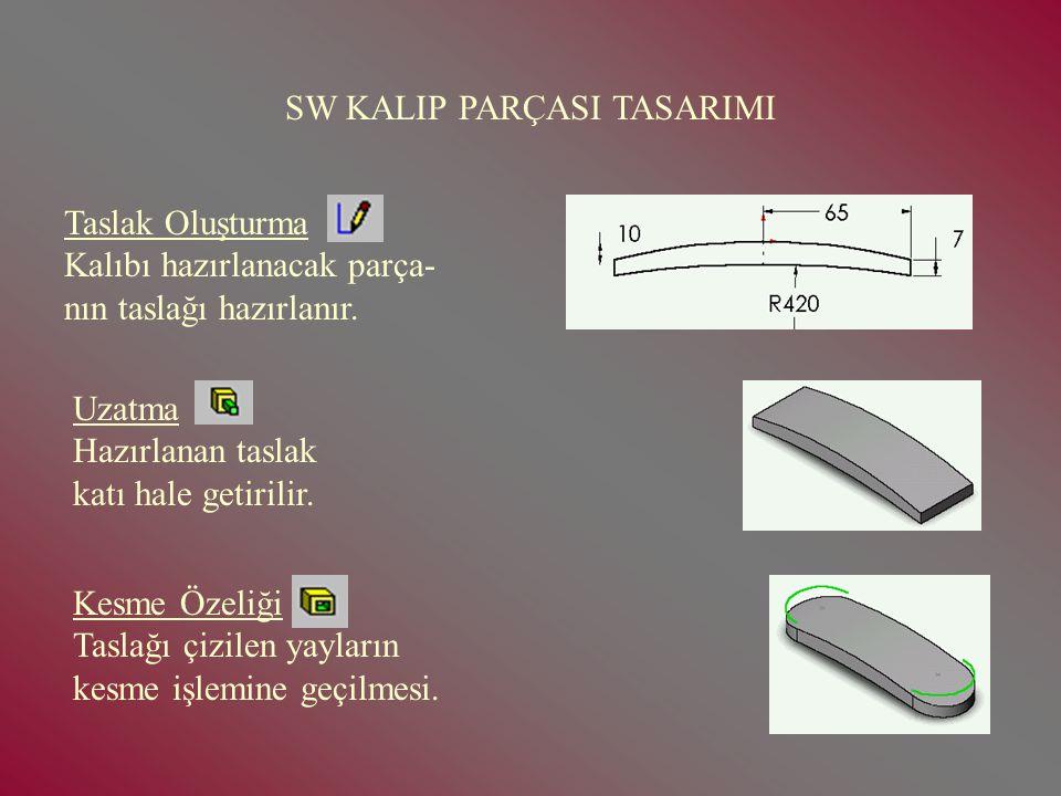 SOLİDWORKS KALIP TASARIM Bu sunumun amacı SW de kalıp parçası ve kalıp tasarımcılığının öğretilmesi amaçlanmaktadır.Sunum iki aşamadan oluşur. 1- Kalı