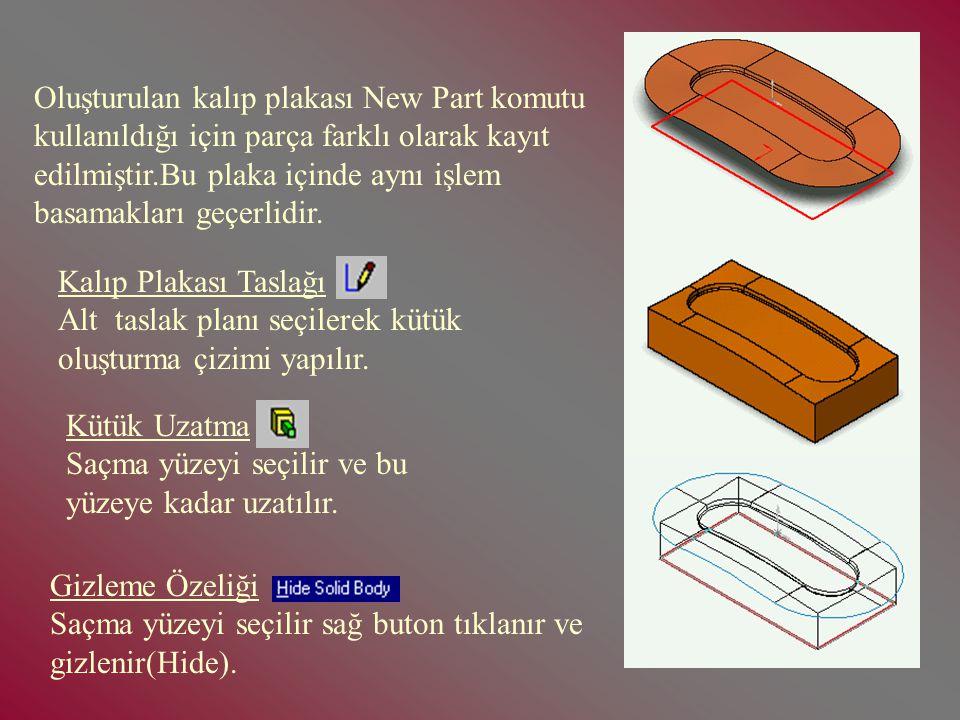 Kalıp Plakası Taslağı Üst taslak planı seçilerek kütük oluşturma çizimi yapılır. Birleşme Özeliği Bu işlem yüzey yayma ve parçanın bütünlüğünü(Knit) s