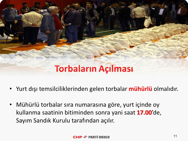 11 Torbaların Açılması Yurt dışı temsilciliklerinden gelen torbalar mühürlü olmalıdır. 17.00 Mühürlü torbalar sıra numarasına göre, yurt içinde oy kul