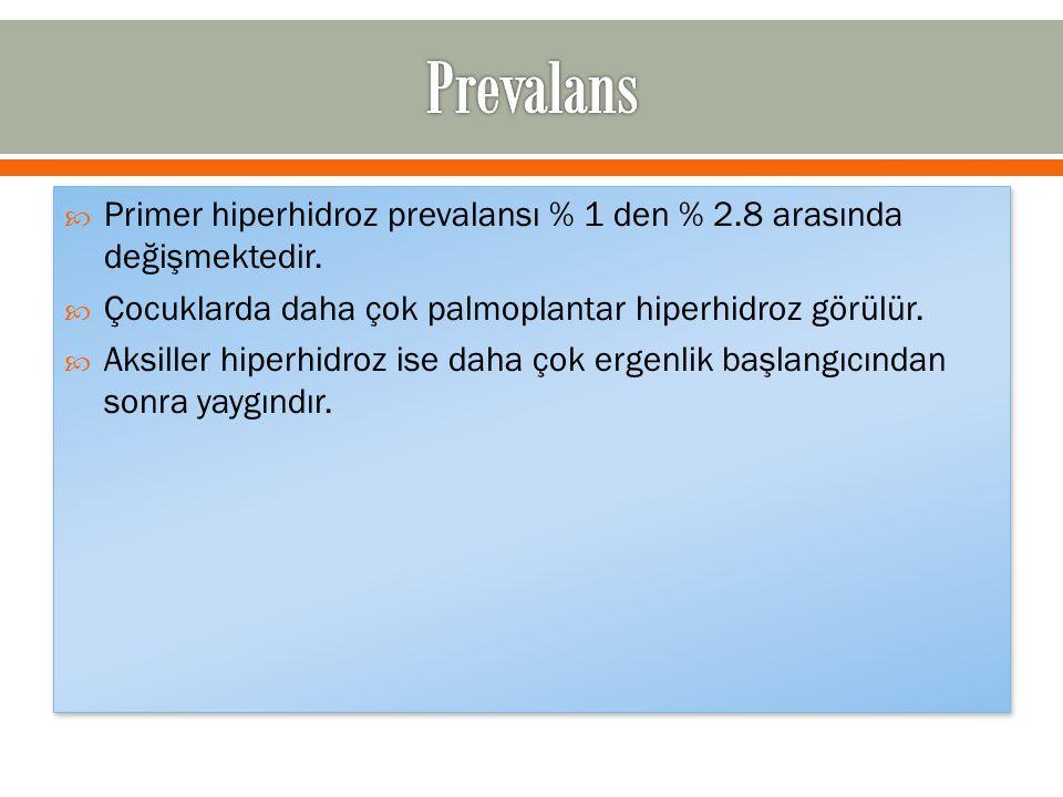  Primer hiperhidroz prevalansı % 1 den % 2.8 arasında değişmektedir.  Çocuklarda daha çok palmoplantar hiperhidroz görülür.  Aksiller hiperhidroz i