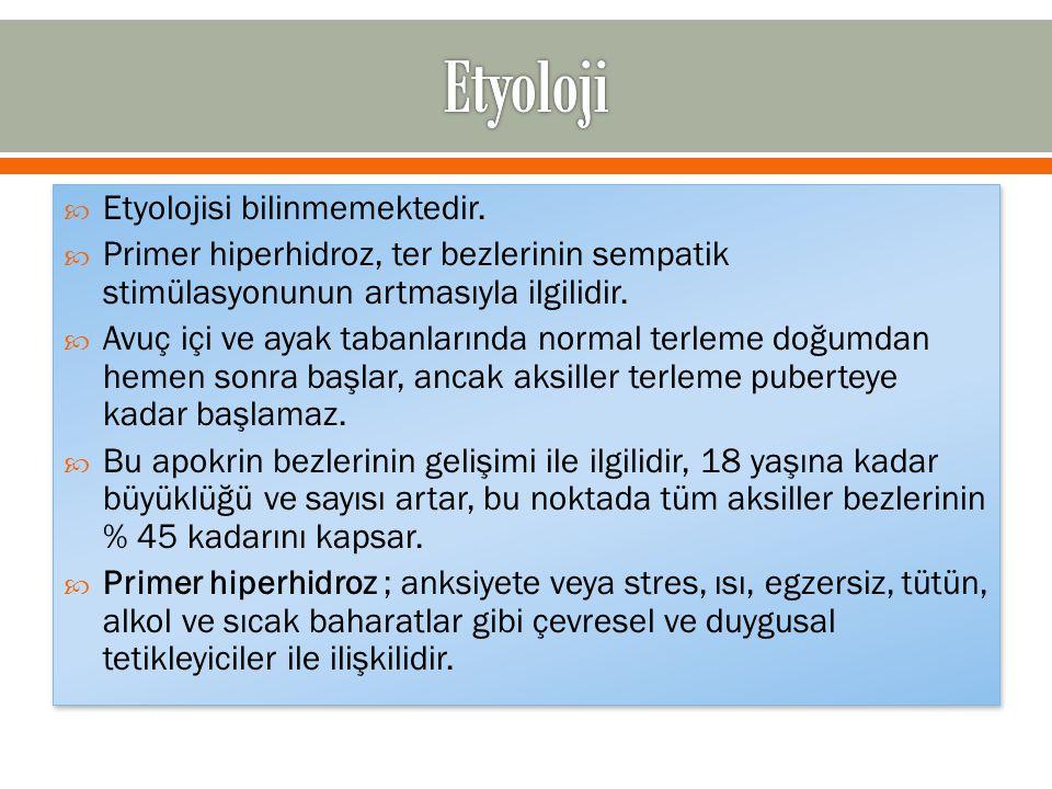  Etyolojisi bilinmemektedir.  Primer hiperhidroz, ter bezlerinin sempatik stimülasyonunun artmasıyla ilgilidir.  Avuç içi ve ayak tabanlarında norm