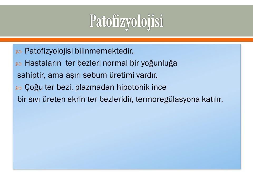  Patofizyolojisi bilinmemektedir.  Hastaların ter bezleri normal bir yoğunluğa sahiptir, ama aşırı sebum üretimi vardır.  Çoğu ter bezi, plazmadan