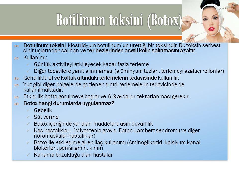  Botulinum toksini, klostridyum botulinum'un ürettiği bir toksindir. Bu toksin serbest sinir uçlarından salınan ve ter bezlerinden asetil kolin salın