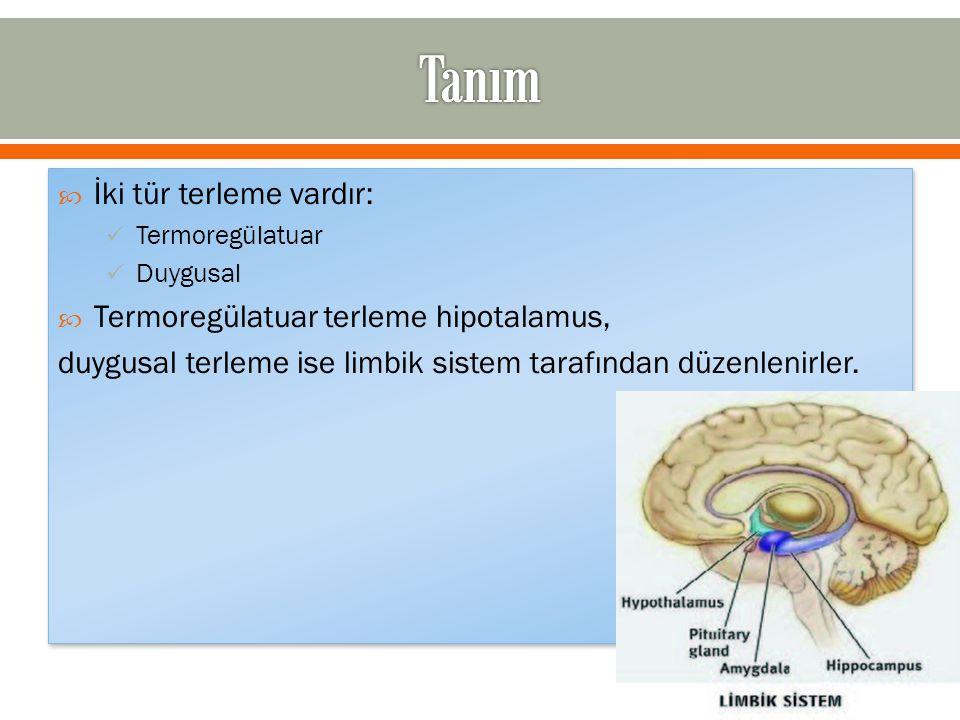  İki tür terleme vardır: Termoregülatuar Duygusal  Termoregülatuar terleme hipotalamus, duygusal terleme ise limbik sistem tarafından düzenlenirler.