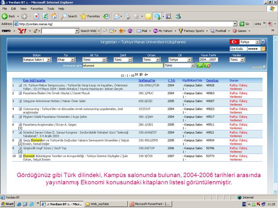 Gördüğünüz gibi Türk dilindeki, Kampüs salonunda bulunan, 2004-2006 tarihleri arasında yayınlanmış Ekonomi konusundaki kitapların listesi görüntülenmi