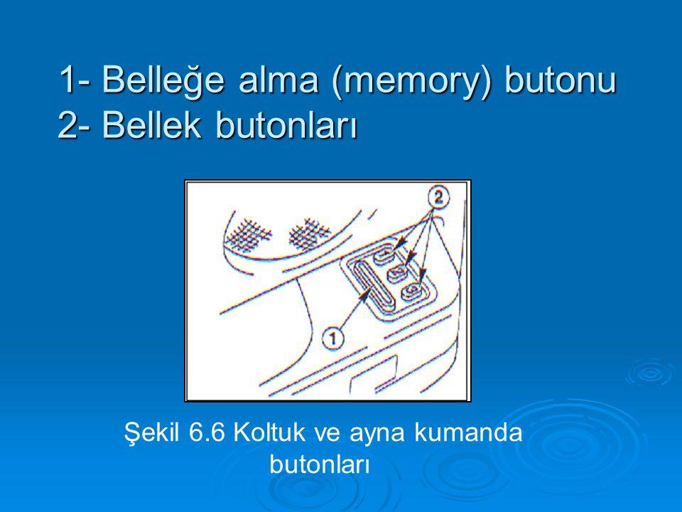 1- Belleğe alma (memory) butonu 2- Bellek butonları Şekil 6.6 Koltuk ve ayna kumanda butonları
