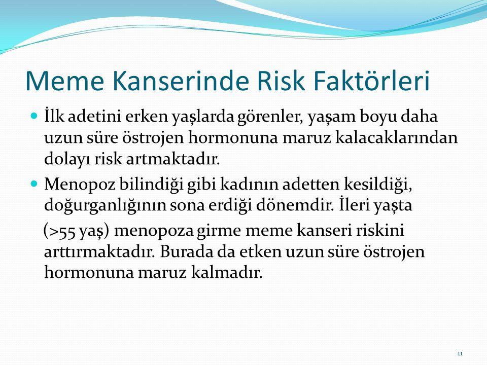 Meme Kanserinde Risk Faktörleri İlk adetini erken yaşlarda görenler, yaşam boyu daha uzun süre östrojen hormonuna maruz kalacaklarından dolayı risk artmaktadır.