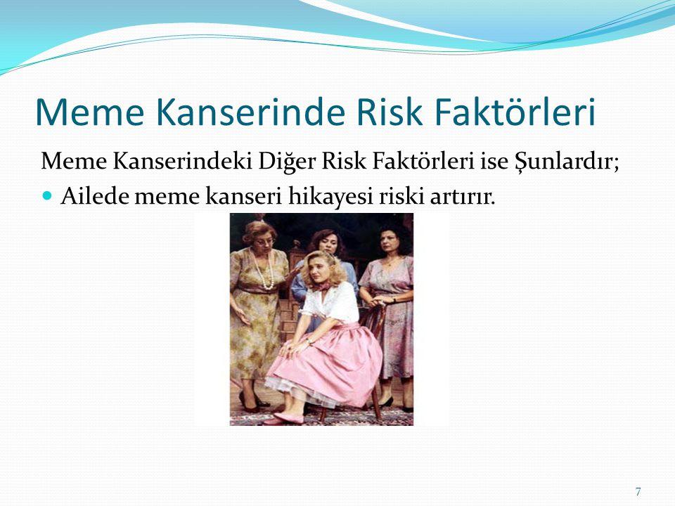 Meme Kanserinde Risk Faktörleri Meme Kanserindeki Diğer Risk Faktörleri ise Şunlardır; Ailede meme kanseri hikayesi riski artırır.
