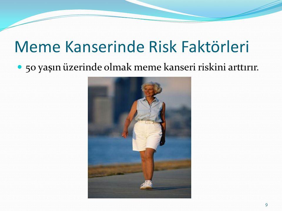Meme Kanserinde Risk Faktörleri 50 yaşın üzerinde olmak meme kanseri riskini arttırır. 9