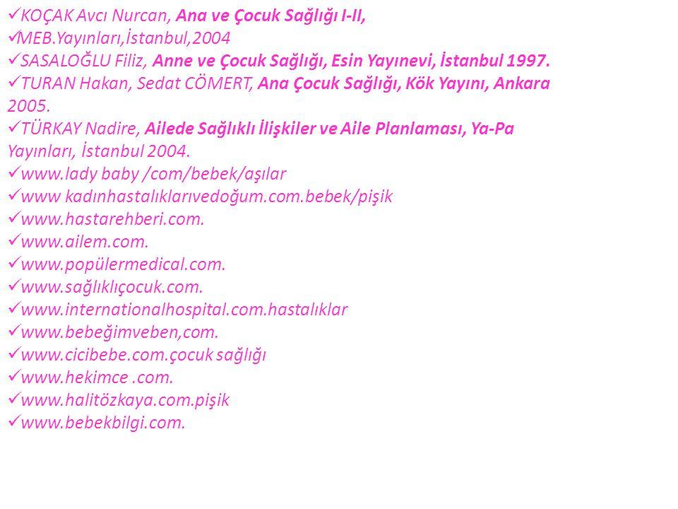 KOÇAK Avcı Nurcan, Ana ve Çocuk Sağlığı I-II, MEB.Yayınları,İstanbul,2004 SASALOĞLU Filiz, Anne ve Çocuk Sağlığı, Esin Yayınevi, İstanbul 1997. TURAN