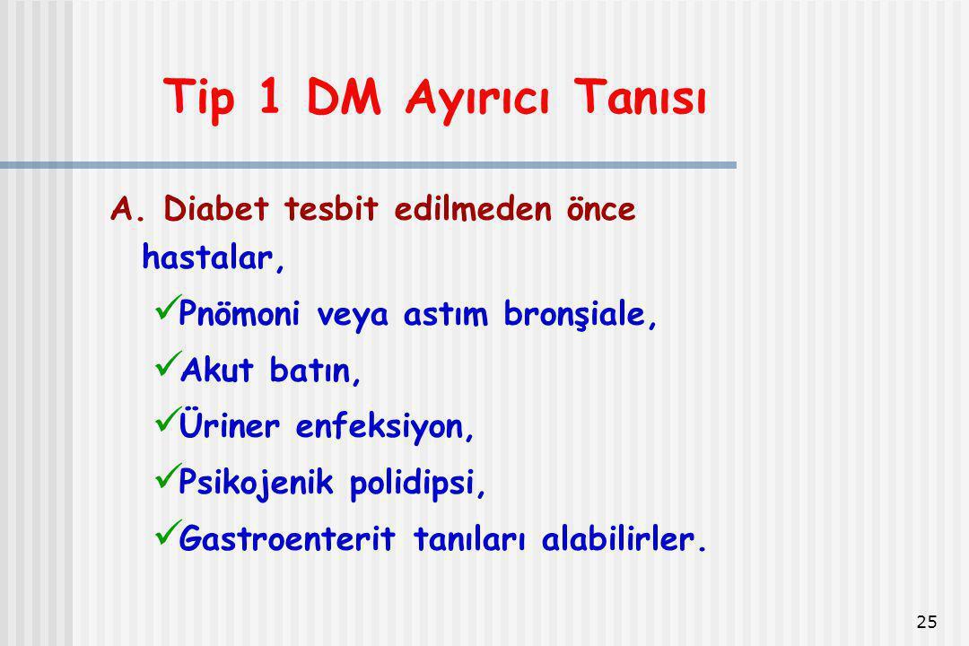 25 Tip 1 DM Ayırıcı Tanısı A. Diabet tesbit edilmeden önce hastalar, Pnömoni veya astım bronşiale, Akut batın, Üriner enfeksiyon, Psikojenik polidipsi