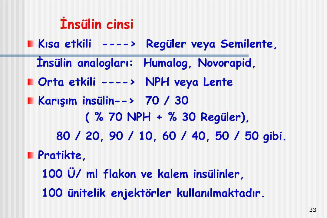 33 İnsülin cinsi Kısa etkili ----> Regüler veya Semilente, İnsülin analogları: Humalog, Novorapid, Orta etkili ----> NPH veya Lente Karışım insülin-->