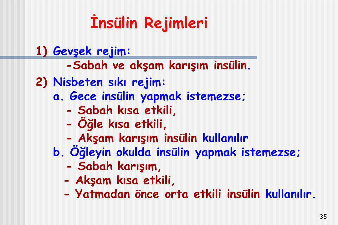 35 İnsülin Rejimleri 1)Gevşek rejim: -Sabah ve akşam karışım insülin. 2)Nisbeten sıkı rejim: a. Gece insülin yapmak istemezse; - Sabah kısa etkili, -