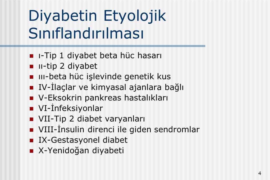 4 Diyabetin Etyolojik Sınıflandırılması ı-Tip 1 diyabet beta hüc hasarı ıı-tip 2 diyabet ııı-beta hüc işlevinde genetik kus IV-İlaçlar ve kimyasal aja