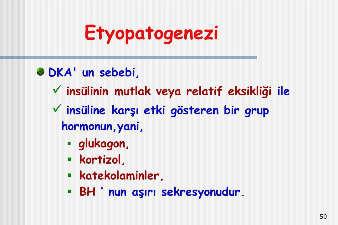 50 Etyopatogenezi DKA' un sebebi, insülinin mutlak veya relatif eksikliği ile insüline karşı etki gösteren bir grup hormonun,yani,  glukagon,  korti