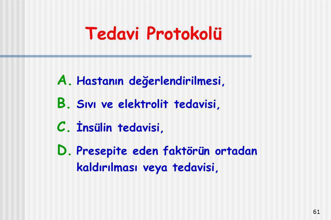 61 Tedavi Protokolü A. Hastanın değerlendirilmesi, B. Sıvı ve elektrolit tedavisi, C. İnsülin tedavisi, D. Presepite eden faktörün ortadan kaldırılmas
