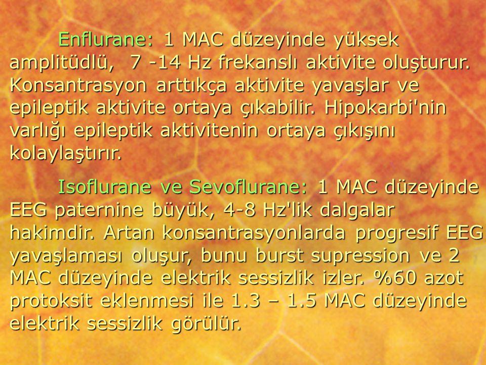 Enflurane: 1 MAC düzeyinde yüksek amplitüdlü, 7 -14 Hz frekanslı aktivite oluşturur. Konsantrasyon arttıkça aktivite yavaşlar ve epileptik aktivite or