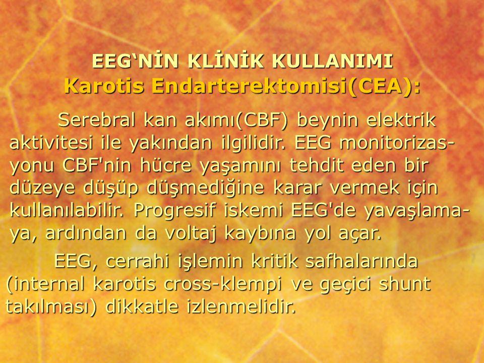 EEG'NİN KLİNİK KULLANIMI Karotis Endarterektomisi(CEA): Serebral kan akımı(CBF) beynin elektrik aktivitesi ile yakından ilgilidir. EEG monitorizas- yo
