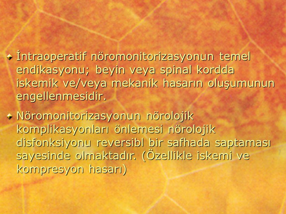 Somatosensoryel uyarılmış potansiyellerin kullanıldığı cerrahi girişimler: Spinal kord monitorizasyonu: Nörolojik komplikasyonlar, amplitüdde azalma ve latent dönemde artış şeklinde tespit edilir.