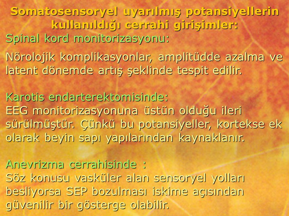 Somatosensoryel uyarılmış potansiyellerin kullanıldığı cerrahi girişimler: Spinal kord monitorizasyonu: Nörolojik komplikasyonlar, amplitüdde azalma v