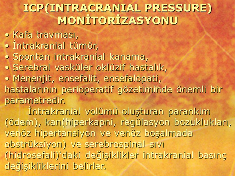 ICP(INTRACRANIAL PRESSURE) MONİTORİZASYONU Kafa travması, Kafa travması, İntrakranial tümör, İntrakranial tümör, Spontan intrakranial kanama, Spontan