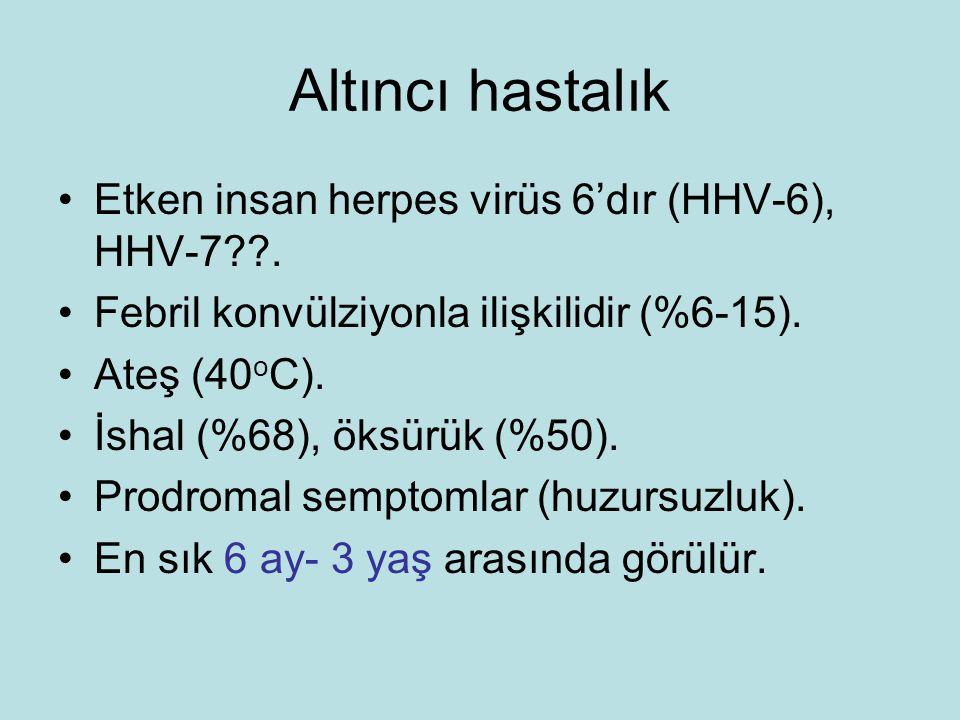 Altıncı hastalık Etken insan herpes virüs 6'dır (HHV-6), HHV-7??.